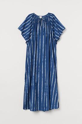 H&M Wide-cut Cotton Dress - Blue