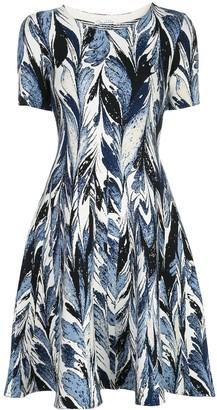Oscar de la Renta Knitted Short Sleeve Dress