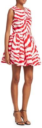 MSGM Zebra Print Fit-&-Flare Short Dress