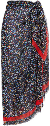 Stella McCartney Printed Cotton And Silk-blend Voile Pareo