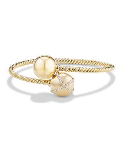 David Yurman Solari Bypass Bracelet with Diamonds in 18K Gold, Size M
