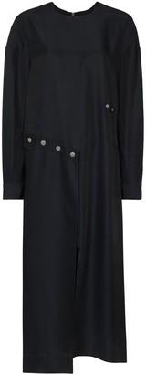 Tibi Fabienne Ecoupe asymmetric midi dress