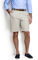 "Classic Men's Traditional Fit 11"" Plain Front Casual Chino Shorts-Sisal"