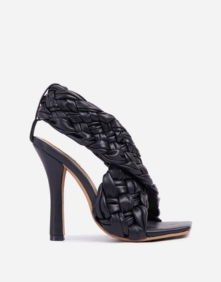 Ego x Molly-Mae Impress plaited heeled sandals in black