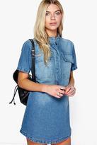 Boohoo Sofia Short Sleeve Utility Denim Shirt Dress