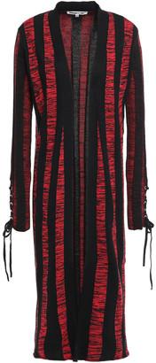 McQ Lace-up Striped Cotton-jacquard Cardigan