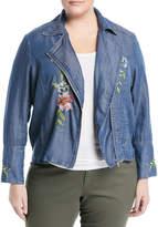 Neiman Marcus Plus Embroidered Chambray Moto Jacket, Plus Size