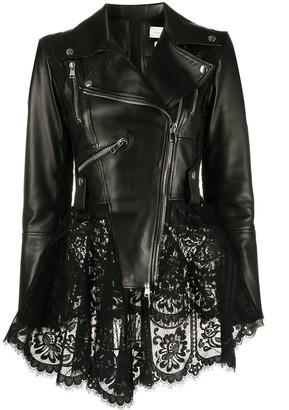 Alexander McQueen Lace Peplum Biker Jacket