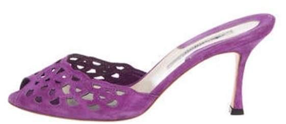 Brian Atwood Suede Slide Sandals Purple Suede Slide Sandals
