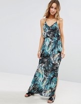 Liquorish Tropical Printed V Neck Strappy Maxi Beach Dress