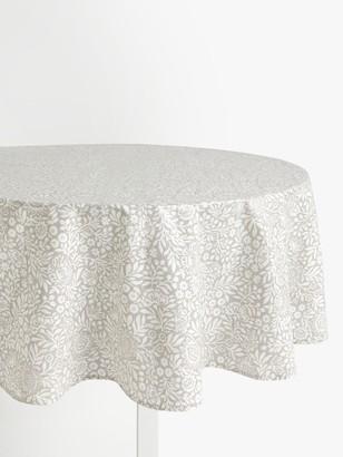 John Lewis & Partners Wipe Clean PVC Hidcote Floral Print Round Tablecloth, Grey, Dia.180cm