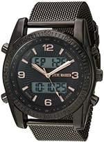 Steve Madden Men's Quartz Stainless Steel and Alloy Dress Watch, Color:Black (Model: SMW102GU)