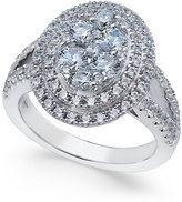 Arabella Swarovski Zirconia Oval Cluster Ring in Sterling Silver, Only at Macy's