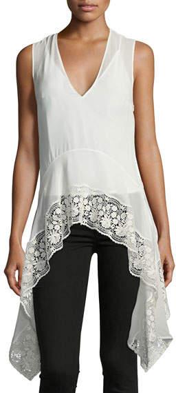 Altuzarra Lace-Trim V-Neck Handkerchief Top