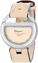 Salvatore Ferragamo Women's FG5030014 BUCKLE Analog Display Swiss Quartz Beige Watch