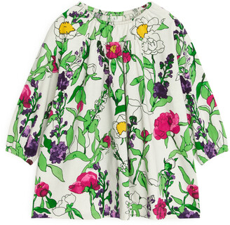 Arket Garden Flora Balloon-Sleeve Jersey Dress