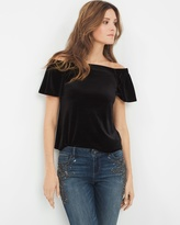 White House Black Market Off-The-Shoulder Velvet Top