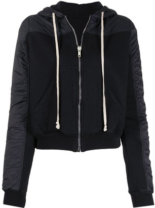 Rick Owens Drawstring Zip Hoodie With Contrasting Textures