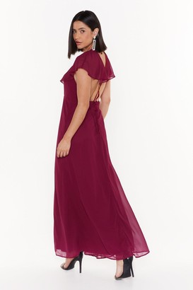 Nasty Gal Womens Make a Night of It Ruffle Maxi Dress - Burgundy