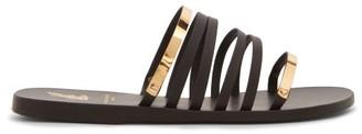 Ancient Greek Sandals X Yiannis Sergakis Metal-snake Leather Slides - Black Gold