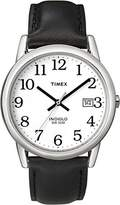 Timex Men's Leather Easy Reader Strap Watch, 2H281, Indiglo, QUICK-DATE, 50 Meter, 10 Year Battery
