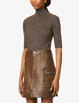 Ganni Metallic turtleneck stretch-knit top