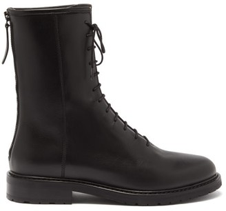 LEGRES Leather Combat Boots - Black