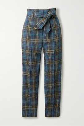 Veronica Beard Clerence Checked Woven Slim-leg Pants - Navy