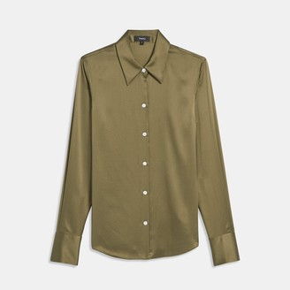 Theory Perfect Fitted Shirt in Stretch Satin