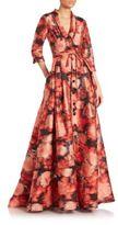 Carolina Herrera Silk Fil Coupe Jacquard Trench Gown