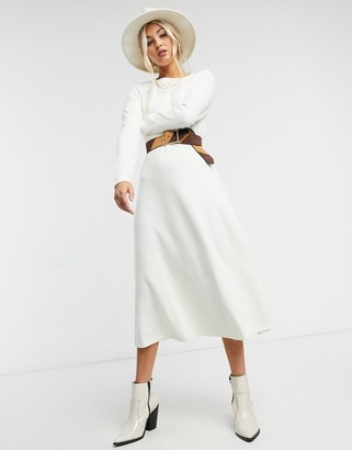 ASOS DESIGN super soft midi swing dress with long sleeve in winter white