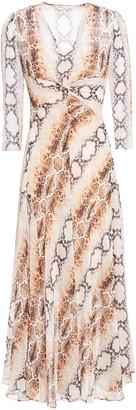 Maje Twisted Snake-print Woven Midi Dress