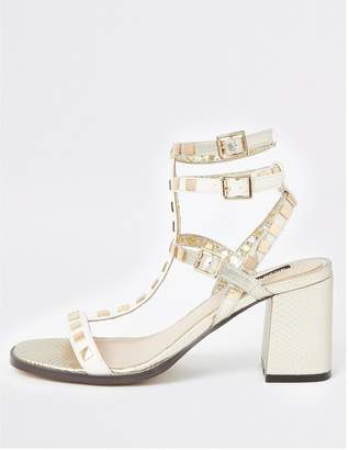 River Island Studded Gladiator Block Heel Sandals - Gold