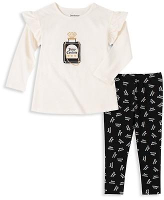 Juicy Couture Little Girl's 2-Piece Logo Ruffled Top & Leggings Set