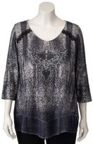 Plus Size World Unity Lace-Trim Printed Top