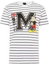 Topman Mens White Stripe Mickey Mouse T-Shirt