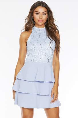Quiz Pale Blue Sequin Lace Tiered Hem Dress