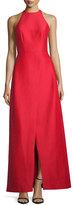 Halston Sleeveless Structured Taffeta Gown, Scarlet