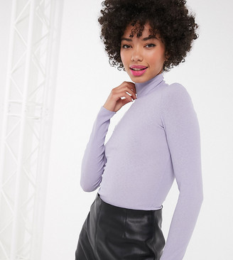 Monki ribbed roll neck top in lilac-Purple