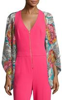 Trina Turk Floral-Printed Open-Front Silk Jacket