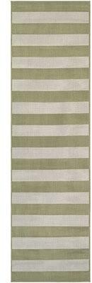 "Andover Millsâ""¢ Ohlone Striped Flatweave Sea Mist/Ivory Indoor / Outdoor Area Rug Andover Millsa Rug Size: Runner 2'2"" x 11'9"""