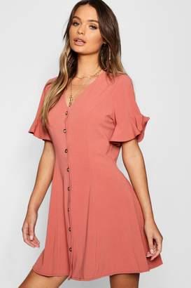 boohoo Button Through Flared Sleeve Shift Dress