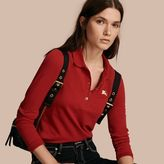 Burberry Long-sleeved Stretch Cotton Piqué Polo Shirt
