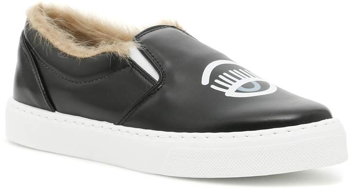 Chiara Ferragni Flirting Slip-ons With Fur