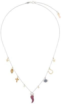 Pippo Perez 18kt white gold and precious stones charm necklace
