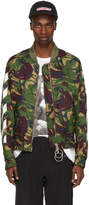 Off-White Green Diagonal Camouflage Bomber Jacket