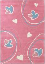 Bright Kids Pink Love Heart Kids Rug, Small