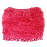Girls Fuchsia Feather Skirt With Velvet Trim