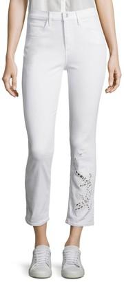 3x1 Sally Salamander Mid-Rise Cutout Straight-Leg Cropped Jeans
