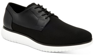 Calvin Klein Men's Teodor Knit & Small Grain Leather Dress Casual Oxfords Men's Shoes